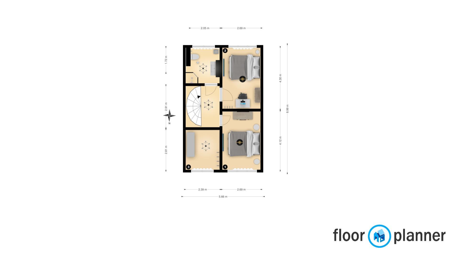 Slaapkamer 1, 2, 3 en badkamer