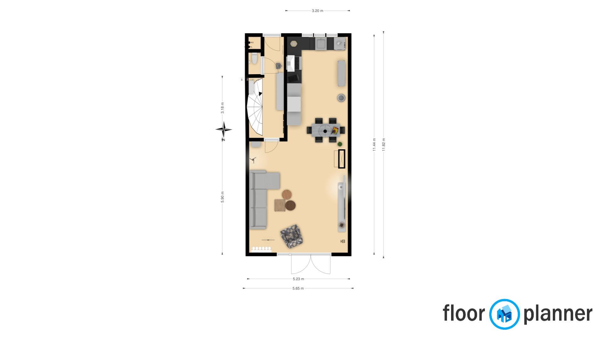 Woonkamer, keuken, hal, toilet